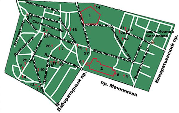 Карта Богословского кладбища