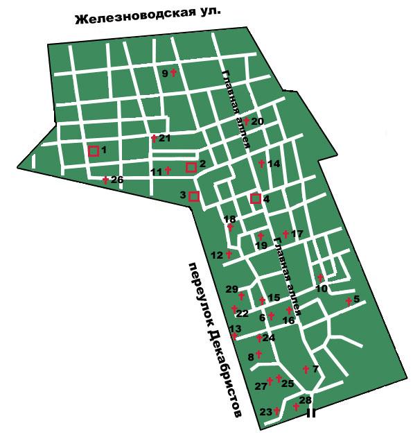 Карта Смоленского лютеранского кладбища и список погребённых знаменитостей.