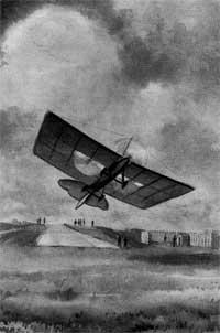 Взлет самолета А.Ф. Можайского Рисунок летчика К.К. Арцеулова